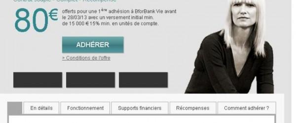 BforBank: 80 euros offerts pour une 1ère adhésion au contrat BforBank Vie